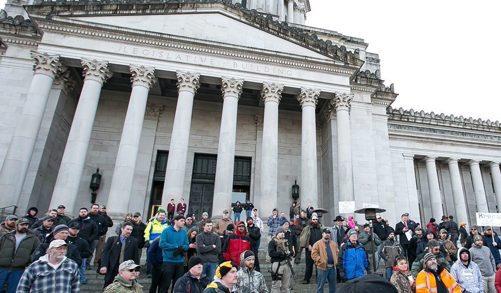 Seattle Times: Senate introduces bill to ban firearms at public demonstrations, Washington state Capitol