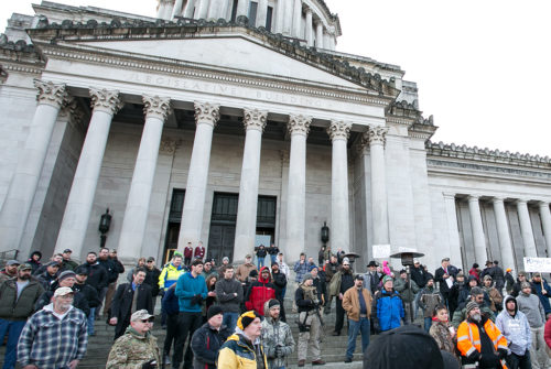 """Rally 4 UR Rights"" rally sponsored by the Gun Rights Coalition is held at the Washington State Capitol in Olympia, Jan. 13, 2017."