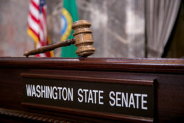 "A gavel above a ""Washington State Senate"" name plate"