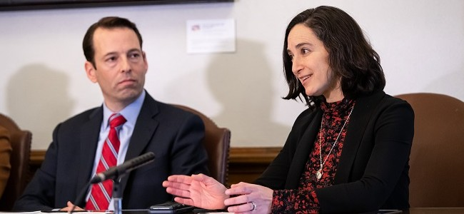 Senator Rebecca Saldana and Senator Andy Billig answer questions from the media in olympia