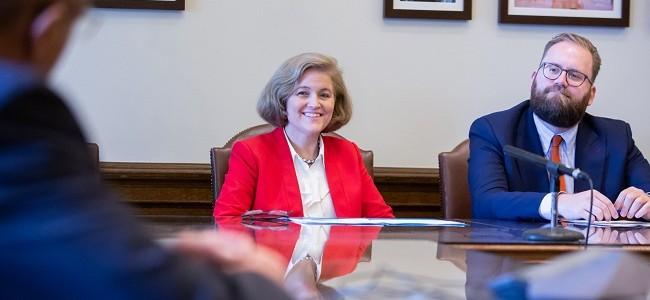 Senatos Christine Rolfes and Marko Liias answer press questions