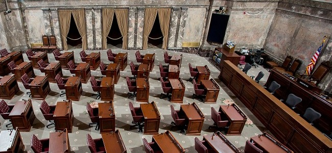 The Senate floor at the Washington State Capital in Olympia, WA