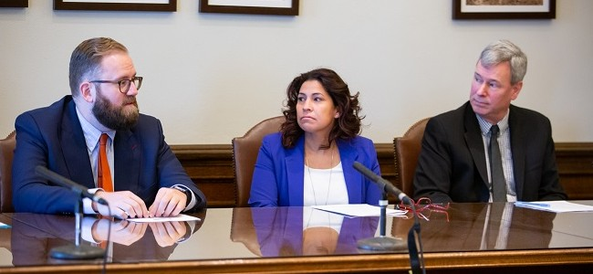 Senator Marko Liias and Representatives Monica Stonier and Pat Sullivan take questions from the media.