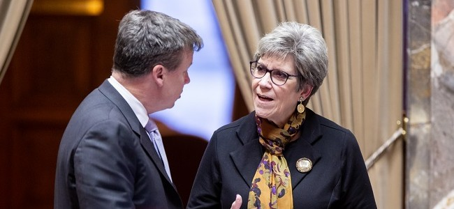 Senators Jeannie Darneille and Mark Mullet have a conversation in the senate chamber in 2020
