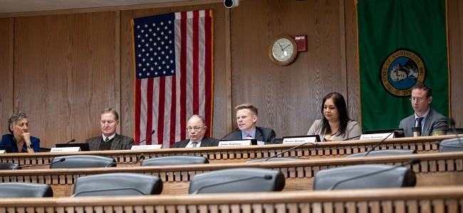 Senators participate in a public hearing on a bill in olympia in 2020