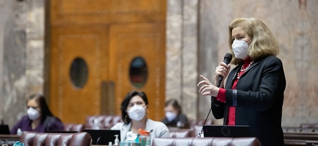 Senator Christine Rolfes speaks during debate in the Senate chamber in olympia