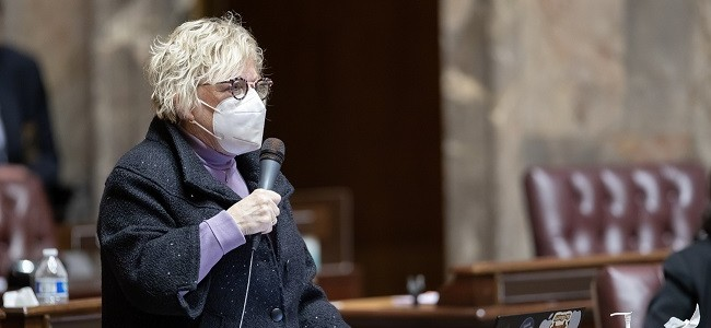 Senator Claire Wilson speaks into a microphone while wearing an N95 mask in the senate chambers in Olympia