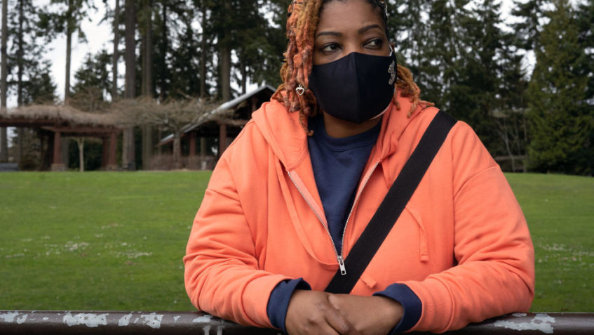 Michelle McClendon, a community resource consultant at Simply United Together, photographed at Angle Lake Park in SeaTac, Washington, on March 24, 2021. (Matt M. McKnight/Crosscut)