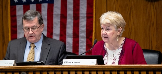 Senator Karen Keiser and Senator Curtis King participate in a legislative hearing in Olympia